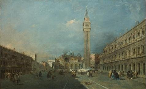 'Francesco Guardi - Venice - Piazza San Marco,after 1780' Oil Painting, 12x20 Inch / 30x50 Cm ,printed On Perfect Effect Canvas ,this Reproductions Art Decorative Canvas Prints Is Perfectly Suitalbe For Home Theater Artwork And Home Decoration And Gifts