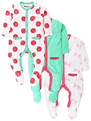 Sleepsuit With Attached Mitten And Botties Pack Of 3 - Light Green/White/Pink (0-3 Months)