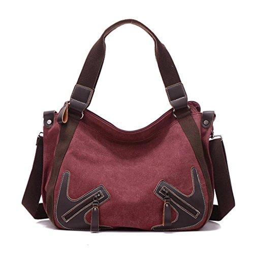 Gillberry Women Fashion Handbag Canvas Shoulder Bag Large Tote Ladies Purse (Wine) (Hoover Handbag compare prices)
