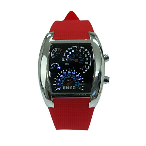 Hde Men'S Water Resitant Rpm Rally Tachometer Digital Led Display Sports Watch W/ Red Jelly Silicone Band