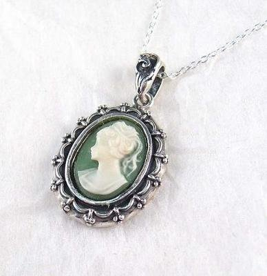 Picture Frame Green Cameo Necklace
