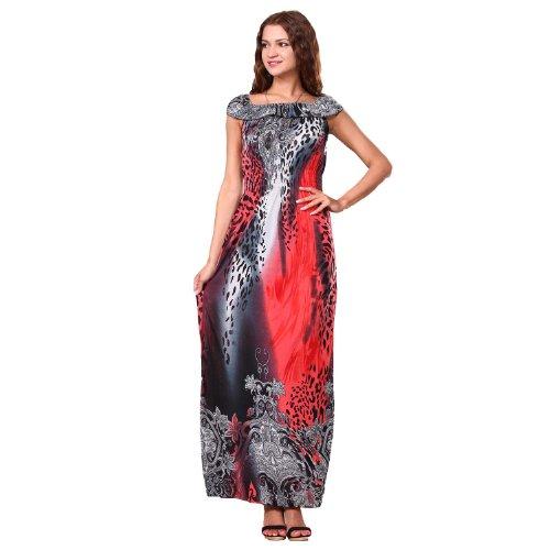 Maya Element Women's Bohemian Sexy Leopard Animal Print Maxi Dress 3052