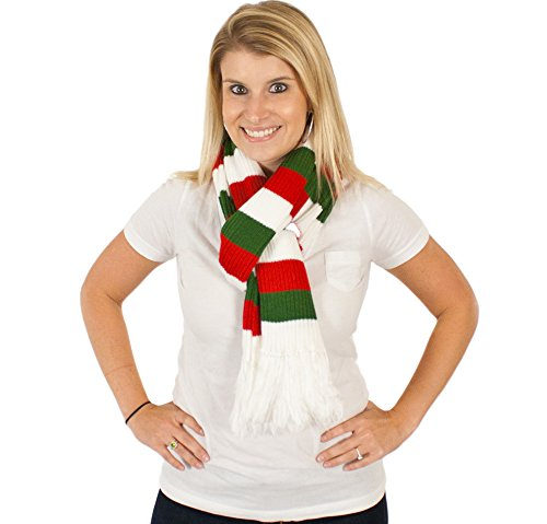 Holiday Scarf - Premium Candy Cane Scarf in Red/white/green By Festified