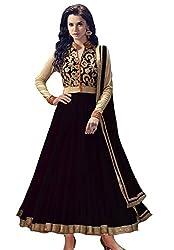 Clickedia Women's Net Anarkali Dress Material (black beige Free Size)
