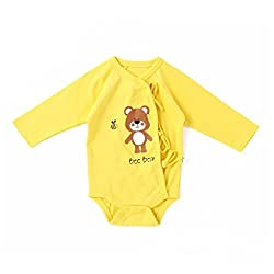 Little Green Kid Organic Cotton Yellow Full Sleeve Bee Bear Kimono Romper