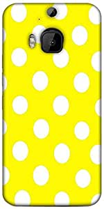 Snoogg Yellow Polka Dot Designer Protective Back Case Cover For HTC M9 Plus