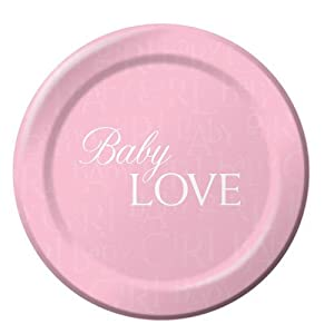 baby shower 9 paper plates baby love girl 8 per pack