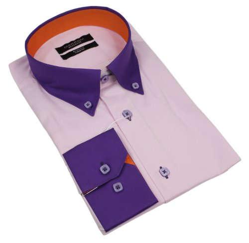 Mens Italian Pink Purple Button Collar Shirt Slim Fit Smart or Casual 100% Cotton