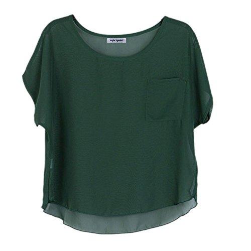 Najia Symbol Womens Summer Sheer Chiffon Short Tops Showomen-080 (Dark Green)