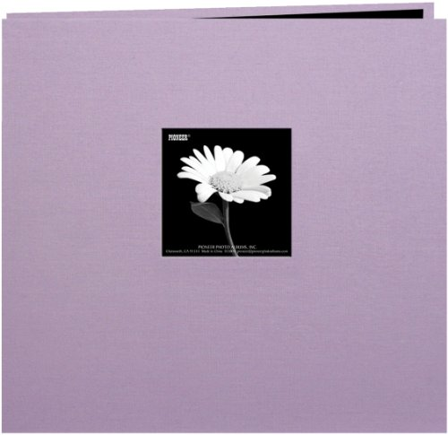 Pioneer 12-Inch by 12-Inch Book Cloth Cover Postbound Album with Window, Misty Lilac