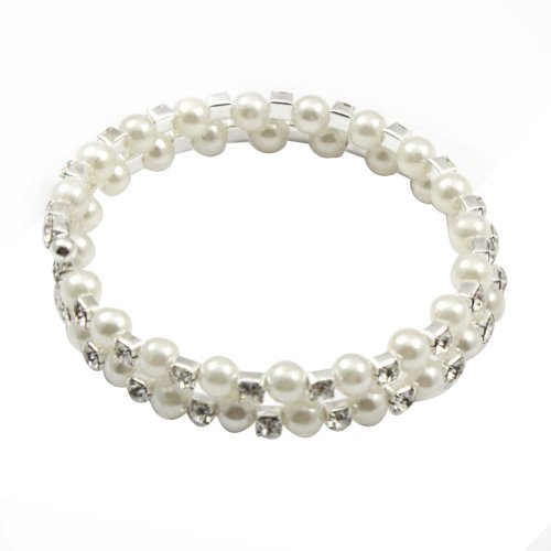 Zehui Lovely 2 Rows Laps White Fresh Water Pearl Bracelet Bangle New