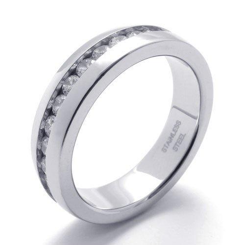 (キチシュウ)Aooazジュエリー レディースステンレスリング指輪 ホワイトCZダイヤモンドいり エレガントデザイン シルバー 高品質のアクセサリー 日本サイズ17号(USサイズ8号)