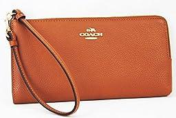 COACH Refined Grain Leather Zip wallet Wristlet
