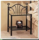 Picture of item Black metal and glass nightstand