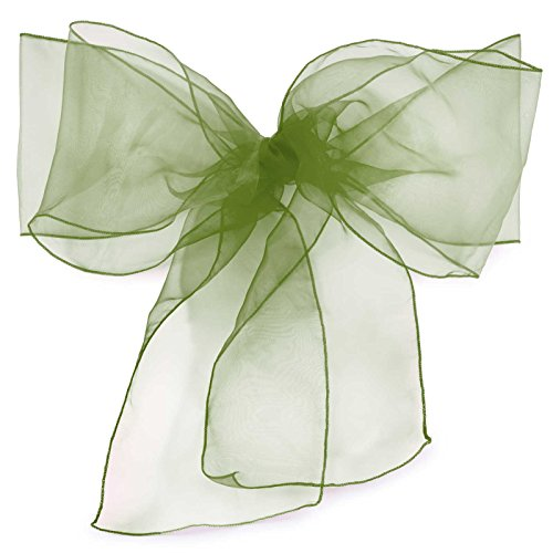 Lann's Linens Organza Chair Sashes / Bows - for Wedding or Banquet - Sage - 10pcs
