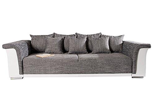 Design Big XL Sofa BELLINA hellgrau Strukturstoff weiß Schlaffunktion Federkern thumbnail