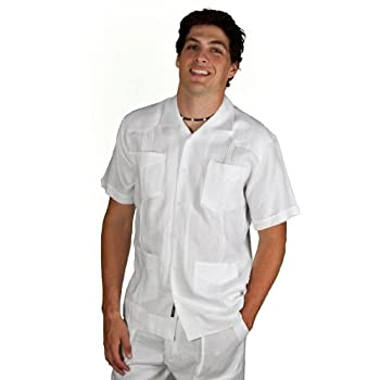 100% linen short sleeve guayabera shirt by cubavera