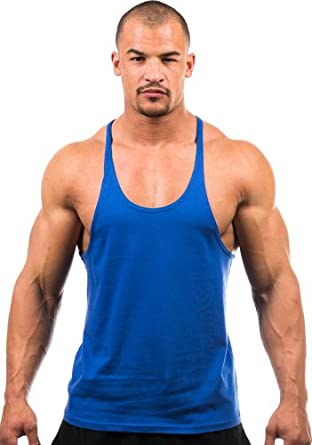 Mens Blank Stringer Y Back Cotton Tanktop (Small, Royal)