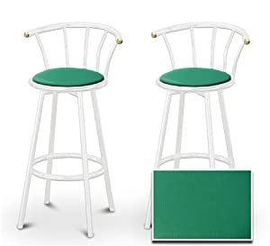 2 Everglade Green Vinyl Specialty / Custom White Barstools with Backrest Set