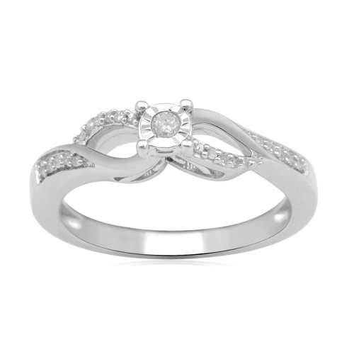 Sterling Silver Diamond Anniversary Ring (1/10 cttw, I-J Color, I2-I3 Clarity), Size 6