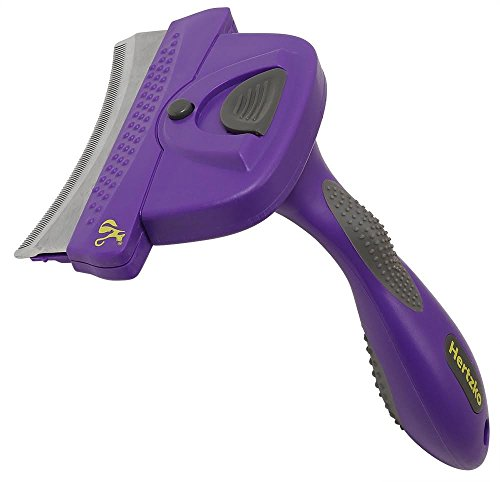 Self Cleaning Deshedding Tool with Unique Curved Comb by Hertzko - Dramatically Reduces Shedding up to 95% - Suitable for Small, Medium, Large, Dogs and Cats, with Short to Long Hair (Small Dog Brush Long Hair compare prices)