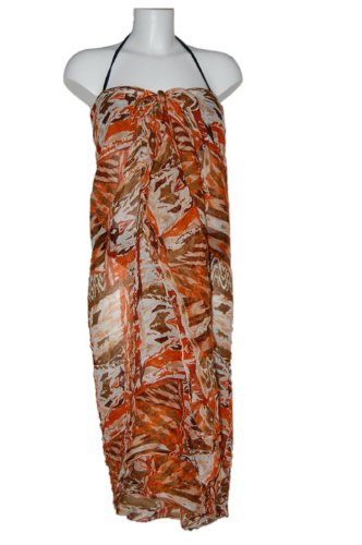 Tamari Orange Printed Sarong Beach Cover Up Wrap Dress One Size