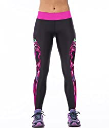 iSweven pink owl Design Printed Polyester Multicolor Yoga pant Tight legging for womens girls