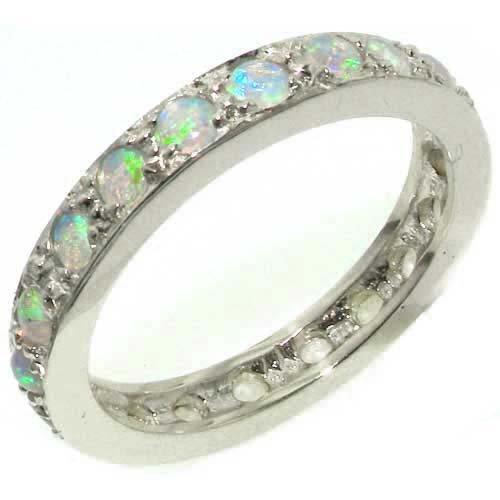 英国製 925 シルバー 天然 オパール レディース フルエタニティー リング 指輪 サイズ 15 各種サイズあり