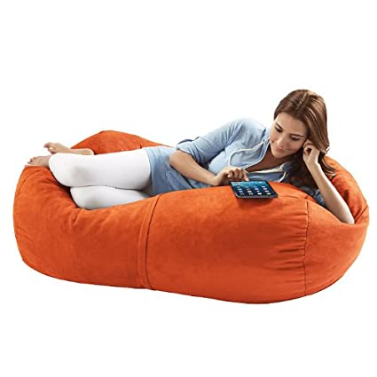 Jaxx Sofa Saxx 4-foot Bean Bag Lounger, Pumpkin Microsuede
