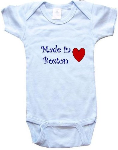 MADE IN BOSTON - BOSTON BABY - City Series - Blue Onesie / Baby T-shirt - size Large (18-24M) at Amazon.com