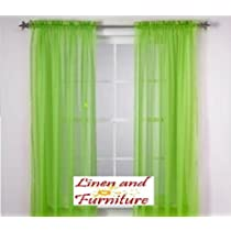 4pc Neon Green Solid Sheer Window Panel Brand New Curtain