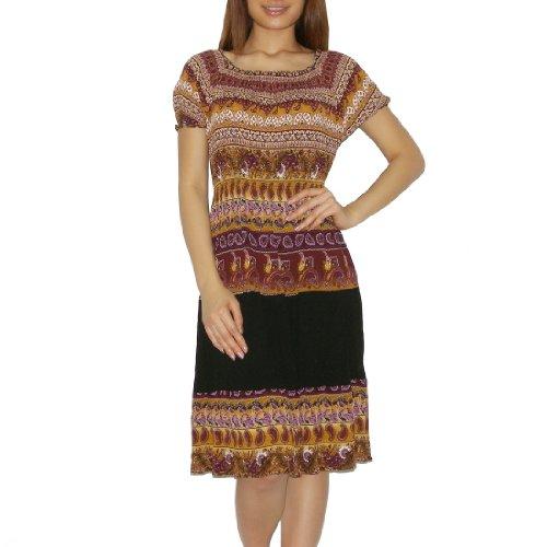 Womens Thai Boho Exotic Gathered / Empire Waist Ruffled Sleeve Summer Dress - Size:One Size