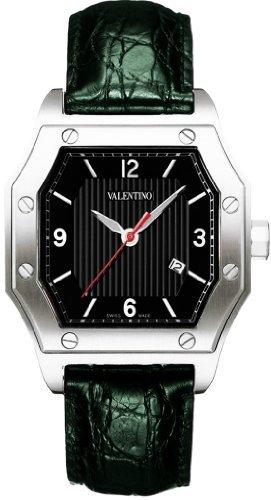 Valentino Men's V39LBQ9909S009-BK/GR Prestige Black Textured Dial Green Crocodile Watch