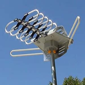 Amplified HD Digital Outdoor HDTV Antenna with Motorized 360 Degree Rotation, UHF/VHF/FM Radio with Infrared Remote Control