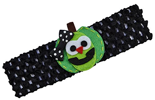 Happy Pumpkin Halloween Crochet Baby Headband (Green Pumpkin)