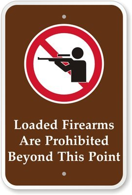 """Loaded Firearms Are Prohibited Beyond This Point (With Graphic) Sign, 18"""" X 12"""" front-1071953"""