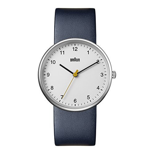 Braun Men's Quartz Watch with White Dial Analogue Display and Blue Leather Strap BN0231WHBLGAL