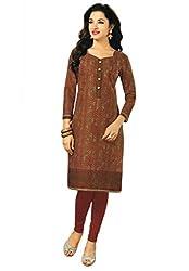Salwar Studio Women's Brown & Grey Cotton Floral Printed Kurti Fabric