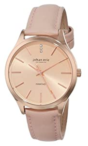 Johan Eric Womens JE2200-09-001.9 Herlev Rose Gold Case and Peach Leather Watch with Diamond Accents