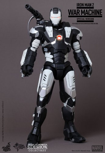 Iron Man 2 Hot Toys Movie Masterpiece 1/6 Scale Collectible Figure War Machine SPECIAL VERSION BLACK WHITE