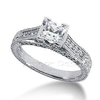 14K White Gold Princess Cut Diamond Promise Engagement Ring (1.02ct.tw, HI Color, SI2-3 Clarity)