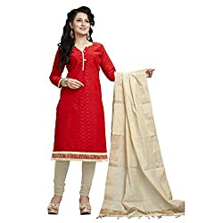 Dress Material (Red Cotton Jacquard Dress Material)