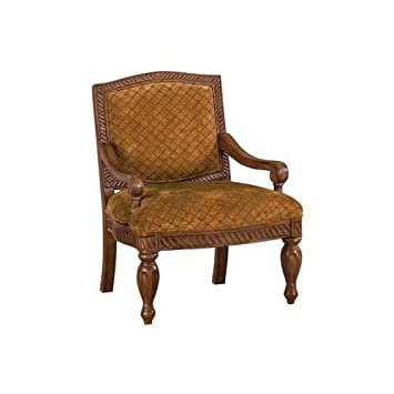 Mwave IDF-AC6759-AC Harlow Traditional Upholstered Accent Chair, Material: Wood, wood veneers, fabric, foam padding, Finish: Antique Oak