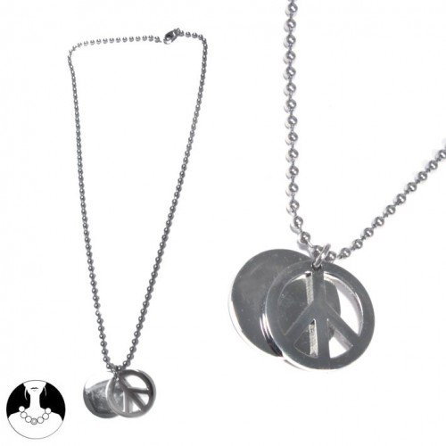 SG Paris Necklace 50cm Steel Argente Necklace Necklace Stainless Steel The Essential Man Hom-Actua The Essential Peace and Love