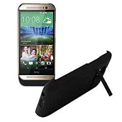 HTC ONE M8 3200mAh Black Portable Detachable External Rechargeable Battery Power Bank Pack Backup Battery Charger Case with Viewing Stand