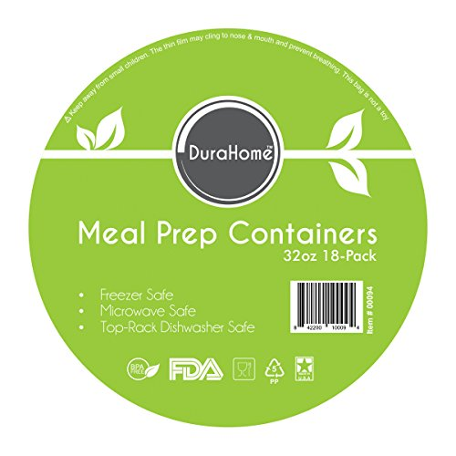 DuraHome – Meal Prep Containers with Lids – 32oz. BPA-Free 12 Pack, Made in USA, Round Microwaveable White (18, Black)