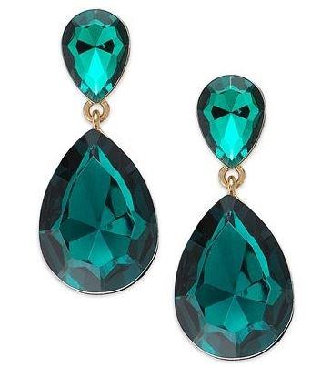 Ali Khan For Macy'S Earrings, Gold-Tone Green Double Teardrop Earrings