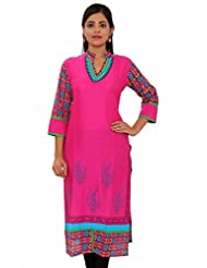 MSONS Womens Pink With Embroidered Neck Multi Printed Long Rayon Kurti