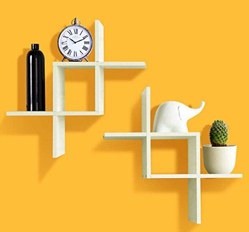 Shelving solution set of 2 reversed criss cross wall shelf for Wall shelves and ledges