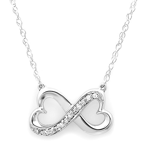 0.10 Carat (ctw) 14K White Gold White Diamond Ladies Double Heart Infinity Love Pendant 1/10 CT